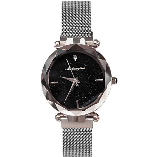RORIOS Damen Uhren wasserdichte Quarz Armbanduhr Sternenklarer Himmel Dial mit Edelstahlarmband Mode Kleid Uhren für Damen