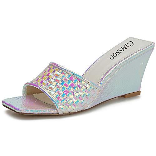 Women's Snakeskin Heeled Wedges Sandals Mules Square Open Toe Slip On Dress Backless High Heels Slides Slippers White Snakeskin PU Size US 10.5