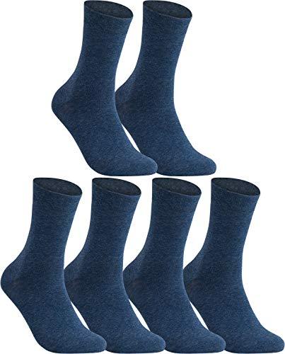 Vitasox 31213 Chaussettes business en coton pour homme sans élastique sans couture unies 6 paires bleu marine 43/46