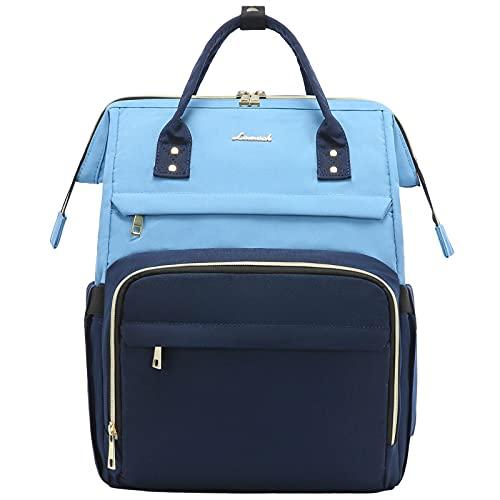 LOVEVOOK Laptop Rucksack Damen mit 15,6 Zoll Laptopfach, wasserdichter Rucksack für Damen Arbeitsrucksack Rucksäcke Damen Hellblau Navy Blau