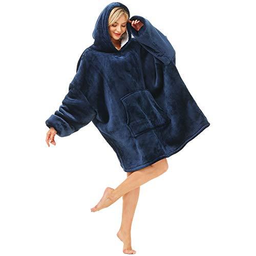 Kipswiza Oversized Blanket Hoodie with Deep Pockets,Long Sleeves, Hood, Hoodie Blanket Sweatshirt, One Size,Soft Comfy Wearable Blanket for Adults Men or Women,Teenagers Kids(Navy)