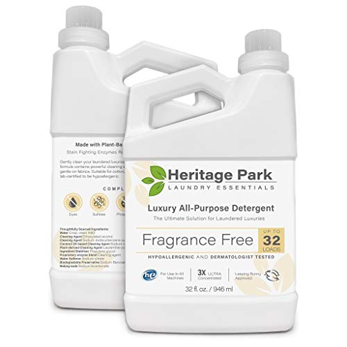 Heritage Park Luxury Laundry Detergent - Fragrance Free, Hypoallergenic, Dermatologist Tested - Gentle, Effective, Safe for Delicate Fabrics - pH Neutral, Unscented, 3X Concentrated Formula - 32 Fl oz