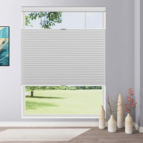 Keego Cordless Cellular Shades Top Down Bottom up Blackout, Custom Cut to Size Room Darkening Honeycomb Blinds for Home Office Window, White, Any Size...