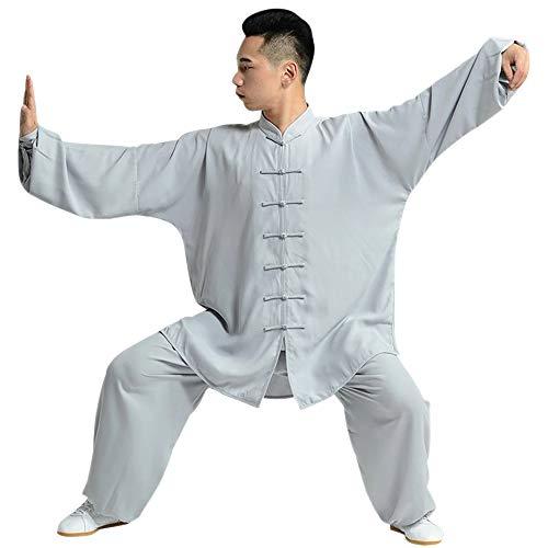 DAZISEN Kampfsport Trainingskleidung - Unisex Tai Chi Atmungsaktiv Fitness Tragen Shaolin Kung Fu Qi Gong Wing Chun Anzug, Grau, EU L=Tag XL