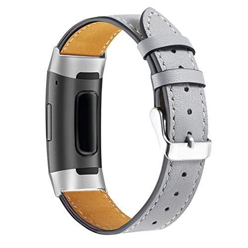 Aottom Cuero Correa Compatible con Fitbit Charge 4/Fitbit Charge 3, Fitbit Smartwatch Correa Reloj Fitbit Charge 3 Ajustable Correas Recambio Correa Fitbit Charge 4 Pulseras Banda de Actividad Física