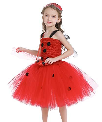 FMYFWY Costume da Coccinella per Ragazze Bambini Vestito da Tutu Ladybug Costume Travestimento Halloween Carnevale Costumi Cosplay Outfits con Maschera, Piccola Borsa, 7-8 Anni