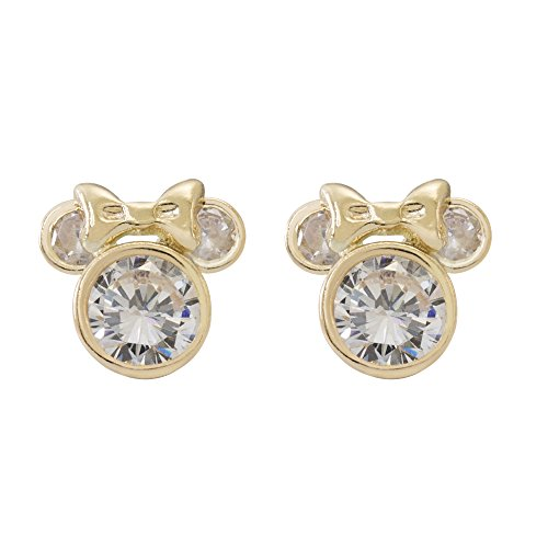Disney Jewelry Mickey or Minnie Mouse 10k Yellow Gold Cubic Zirconia Stud Earrings Mickey's 90th Birthday Anniversary