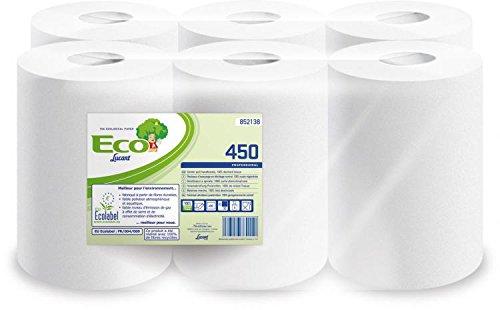 Lucart Professional Eco 450 Putzrollen/Reinigungstücher, Ecolabel-Gütesiegel, zu 100% aus recyceltem Papier, 2-lagig, Weiß, 450Blatt pro Rolle, 6Rollen