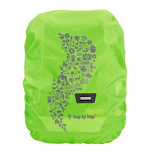 Step by Step Regen-/Sicherheitshülle, reflektierend, grün, passend für alle Schulranzen und Tornister, schützt vor Regen und Schmutz, M