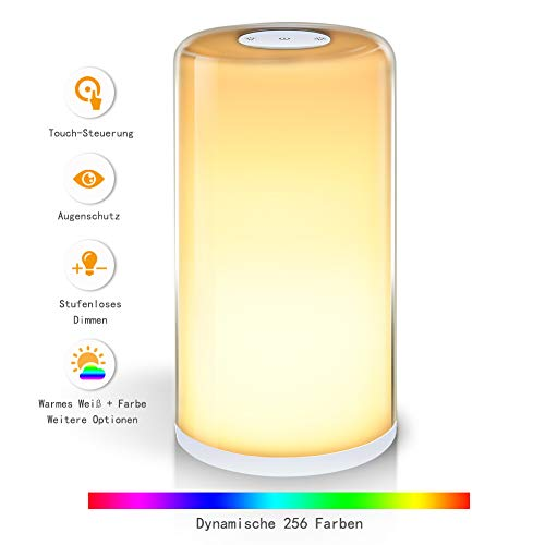 LUNSY LED Bedside Lamp, Touch-Sensitive Table Lamp with Dimmable Function, Warm White And RGB Multiple Colors Night Light for Living Rooms, Bedrooms