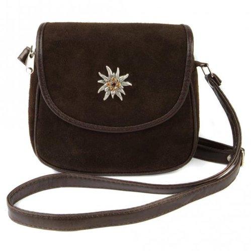 Dunkel-braune Trachtentasche Dirndltasche kleine Umhängetasche aus Wildleder mit Swarovski-Edelweiss