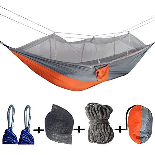 ZEIYUQI Outdoor Hanging Hamacs Camping Siesta Hamacs Facile À Installer avec Moustiquaire Tentsile Arbre Tentes,Orange Gray