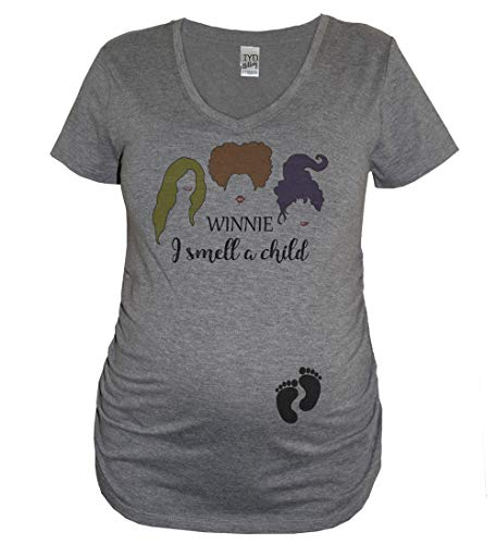 It's Your Day Clothing Winnie I Smell A Child Hocus Pocus Sanderson Sisters Women's Halloween Shirt (Maternity V Neck, Medium)