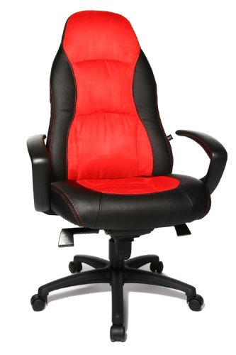 Topstar Speed Chair, Chefsessel, Bürostuhl, Schreibtischstuhl, inkl. Armlehnen, Kunstleder/Mikrofaser, schwarz/rot