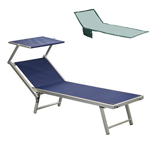 Totò Piccinni Salento Lettino Prendisole Pieghevole in Alluminio con TETTUCCIO Mare Spiaggia Piscina Giardino (Blu Scuro)