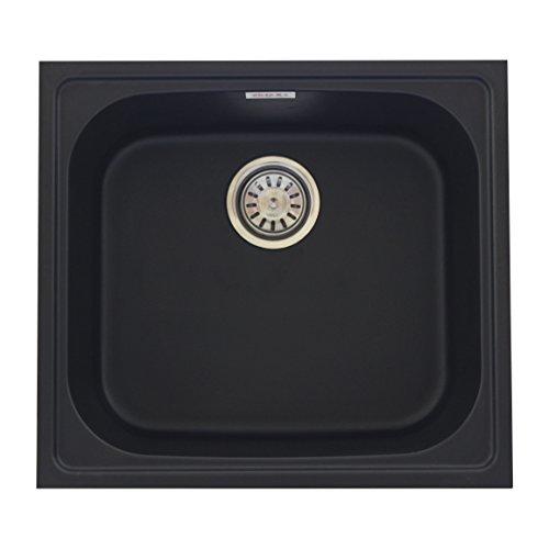 ZINZER Granite/Quartz Kitchen Sink - Single Bowl (21 x 19 x 8 inch, Matt finish ,Black Color )
