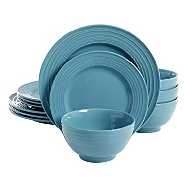 Gibson Home 12 Piece Plaza Cafe Round Dinnerware Set with Embossed Stoneware, Turquoise