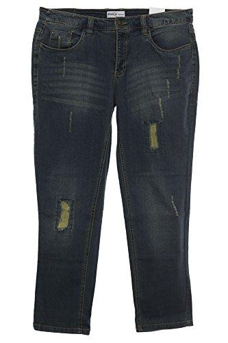 sheego Jeans Die Schmale Hose Pants Damen Stretch Used Look Plusgröße Kurzgröße, Farbe:Jeansblau;Damengrößen:21