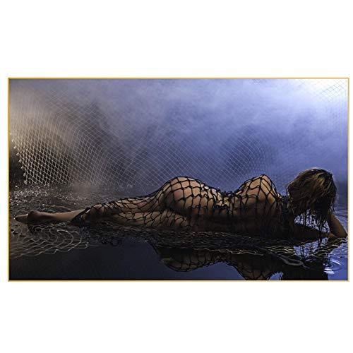 """HYY-YY Hermosa Vista de una Mujer Sexy tumbada bajo la Lluvia Lienzos de Pinturas Carteles Impresiones Arte de la Pared Imagen Sala de Estar Decoración del hogar 23.6""""x47.2 (60x120cm) Sin Marco"""