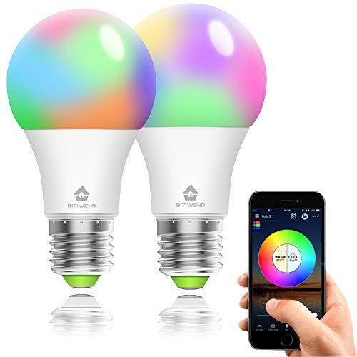 Lampadina Smart WiFi LED E27, 2 Pezzi, 4.5 W RGBW, BITIWEND Light Bulb Colorate Dimmerabile, Compatibile con Alexa, Google Home e IFTTT, non richiede hub[Classe di efficienza energetica A]