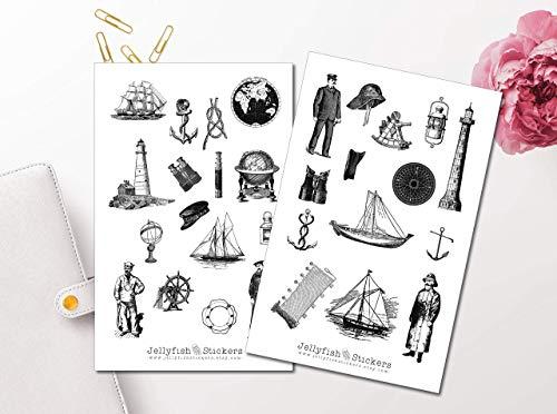 Vintage Nautical Sticker Set - Aufkleber Vintage, Journal Sticker, Maritime Sticker, Aufkleber Meer, Leuchtturm Sticker, Papier, Dekoration