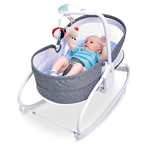 Cama mecedora multifuncional del bebé del balancín eléctrico, canasta para dormir, cama,...