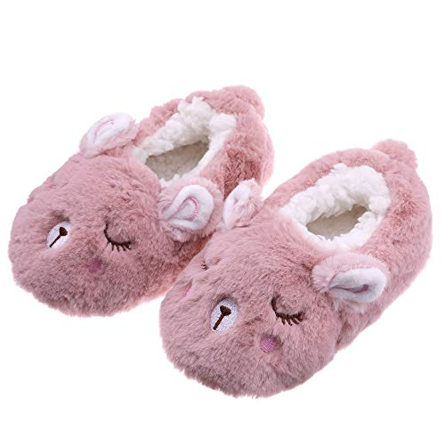 FANZERO Toddler Kids Girls Boys Cute Cartoon Animal Soft Warm Plush Lining Non-Slip Slippers Winter House Shoes Dark Pink Rabbit,9 M US Toddler