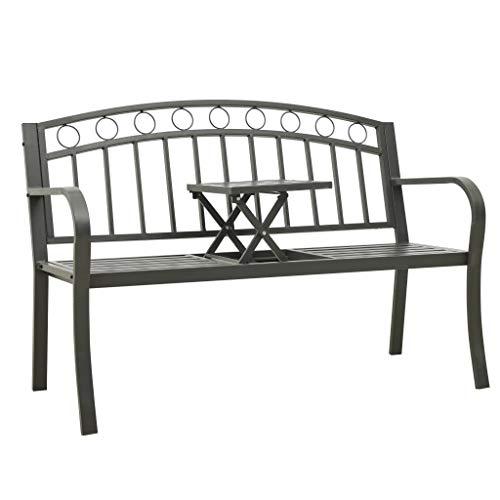 vidaXL Gartenbank mit 1 Tisch Klapptisch Sitzbank Parkbank Terrassenbank Balkonbank Gartenmöbel Metallbank Bank Outdoor 125cm Stahl Grau