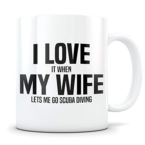 N\A Regalo de Buceo para Esposo - Taza Divertida de Buzo para Hombres Casados - Taza de café de mordaza para entusiastas del Buceo PADI - La Mejor Idea de Regalo de I Love My Wife para él