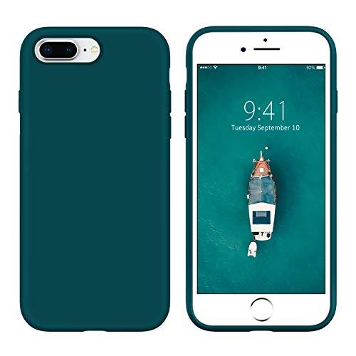 YINLAI iPhone 8 Plus Hülle/iPhone 7 Plus Hülle Silikon,Handyhülle iPhone 7/8 Plus Cover Case Schutzhülle Slim Liquid Silikon Gel Matte Kratzfest Hülle für iPhone 7/8 Plus 5,5 Zoll,Dunkelgrün