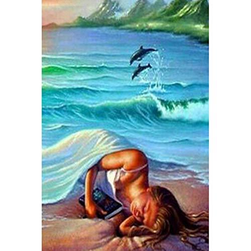Kit de pintura de diamantes para adultos,5D diy pintura diamante taladro completo kit - Chica de surf en la playa30 x 40cm