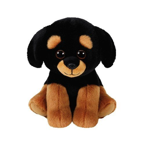 TY 42250 Rottweiller Trevour, Rottweiler Beanie Babies, Plüsch, 15 cm, Schwarz/braun