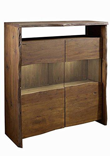 Buffet avec vitrine - Bois massif d'acacia laqué (Brun classique) - Design naturel - LIVE EDGE #205
