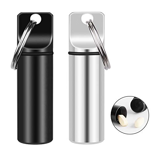 2 Pack Small Pocket Pill Box Keychain, Portable Mini Aluminium Alloy Pill Organizer Case Container for Purse, Waterproof Metal Pill Holder Medicine Bottle for Outdoor Camping Travel(Black+Silver)
