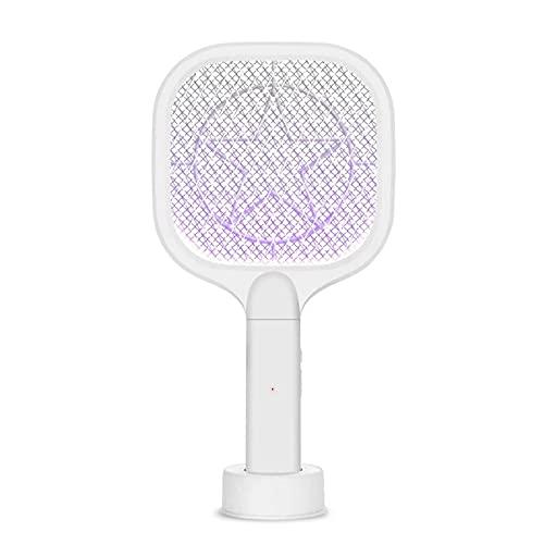 Matamoscas Eléctrico 2 En 1 USB Recargable Hogar Anti Mosquito Fly Bug Zapper Racket Killer Trap Lamp Ampliamente Utilizado (Color : White, Size : One Size)