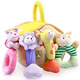 iPlay, iLearn 4 Plush Baby Soft Rattle Toys, Hand Grab Sensory Shaker, Farm Stuffed Animal Set, Infant Easter Basket Girls, Unique Newborn Shower Gifts for 2 3 6 9 12 18 Month 1 Year Old Boys Toddlers