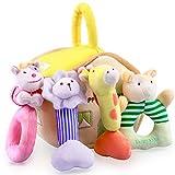 iPlay, iLearn 4 Plush Baby Soft Rattle Set, Hand Grab Sensory Toys, Organic Teether and Shaker, Farm...