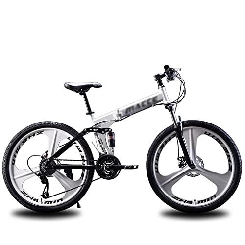 Gymqian 21 Velocidad de la Bicicleta de Montaña, Ruedas de 3 Radios Mtb Bicicleta Plegable Dual Disc Frenos de Doble Suspensión Bicicletas Plegables para Mujeres Hombres Adolescente