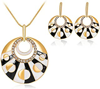 Gorgeous Black&White Drip Oil Rhinestones Round Necklace Earrings KC Gold Plated Jewelry Set