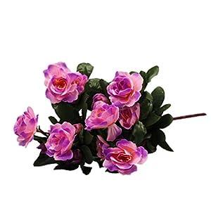 Silk Flower Arrangements LNGRY Artificial Silk Fake Flowers Artificial Bouquet Simulation of Azalea Safflower Home Party Wedding Decoration (Purple)