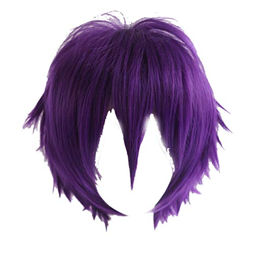 Alacos New Fashion Purple Short Layered Anime Cosplay Wig Teens Men Boy Unisex Costumes Apparel Hair Wig +Cap
