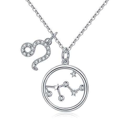 Qings Women 925 Sterling Silver CZ Leo Constellation Necklace, Double Separate Charm Star Pendants Necklace, Gift to Zodiac Believer
