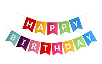 Fecedy Colorful Happy Birthday Banner Bunting
