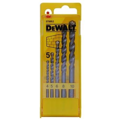 Foto di DeWalt DT6952-QZ Set 5 Punte per Muratura, in Cassetta di Plastica, Diametri 4 mm, 5 mm, 6 mm, 8 mm, 10 mm