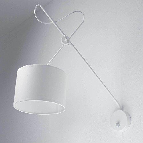 Loft Lampe Wandleuchte Weiß Metall und Stoff flexibel verstellbar 1x E14 bis zu 40Watt Wandlampe mit Schalter Wohnzimmer modern Beleuchtung innen