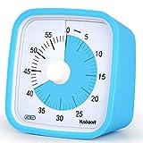 Yunbaoit Visueller Analoger Timer,60-minütiger Küchentimer,Countdown-Timer für Kinder und Erwachsene, leiser/lauter Alarm, Kein Lauter Ticken (Blau)