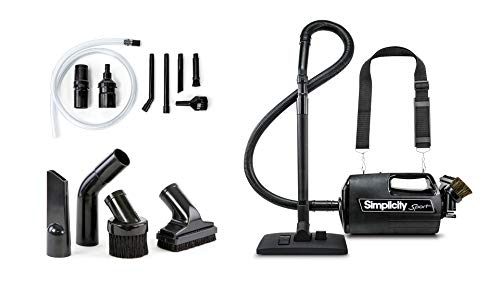 Simplicity Handheld Canister Vacuum with Carry Strap for Hard Floors and Rugs, Car Detailing Vacuum Cleaner, S100