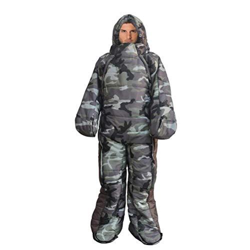 Kyman Erwachsene Camping Tragbarer Schlafsack Jacke mit Füßen und Ärmeln, Warm wasserdicht Winddicht Schlafanzug for Camping, Wandern und Outdoor, Compression Sack umfasst (Size : M)