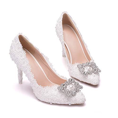 Ouumeis Zapatos De Novia para Mujer 9CM Simple Sandalias De Boda para...