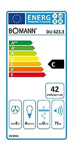 Bomann DU 623.3 Dunstabzugshaube Unterbau – Glas-Wrasenschirm – Edelstahl-Optik - 2